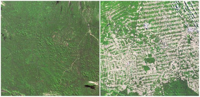 Rondonia, Brazil 1975 and 2009